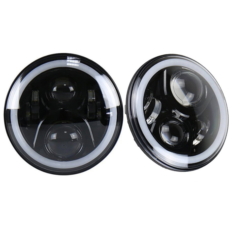 2pcs LED Headlight 50W 7Inch Hi/Lo with Halo Angel Eye DRL For Wrangler and harley motorcycle Driving lights 12v car lamps