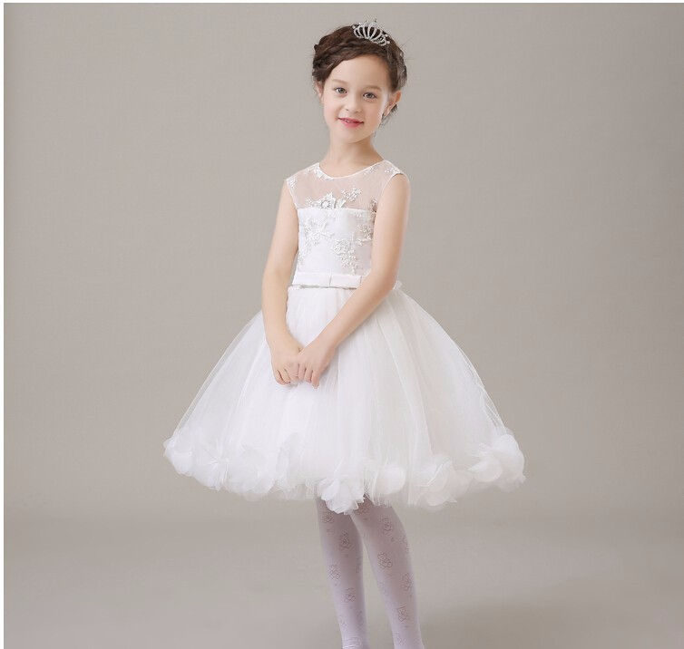 2016 new flower girls elegant Embroidery white lace mesh wedding ... e26c1d6a714c