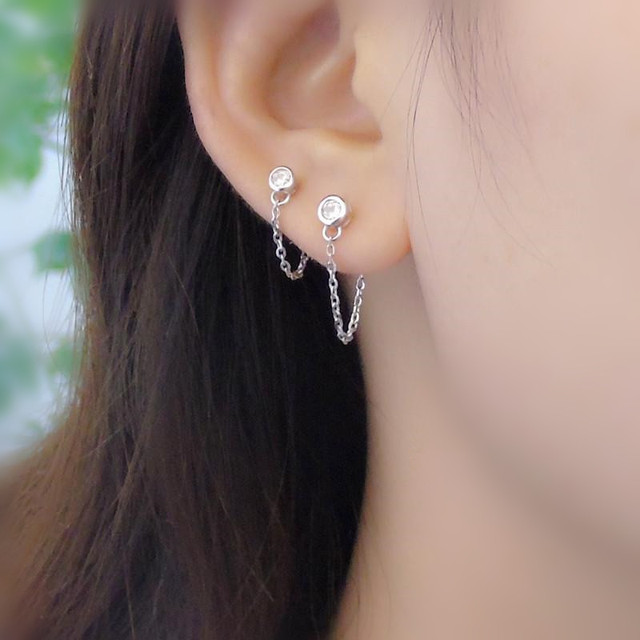 New 925 Silver Round After The Ear Chain Earrings Sterling Temperament Series Double Hole