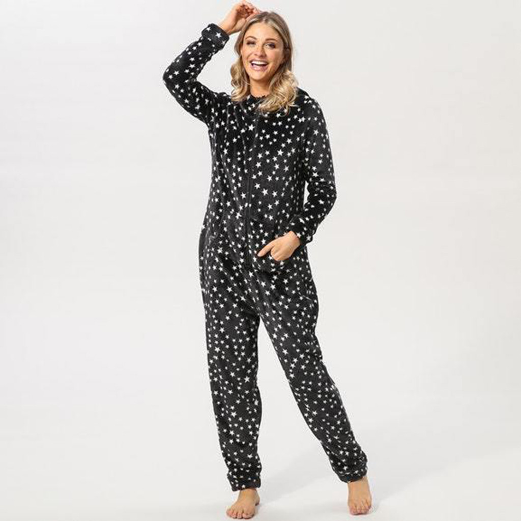 Black Womens Printing Hooded Flannel Long Sleeve Onesies Tracksuit Durable Polyester Sexy Ladies #G25