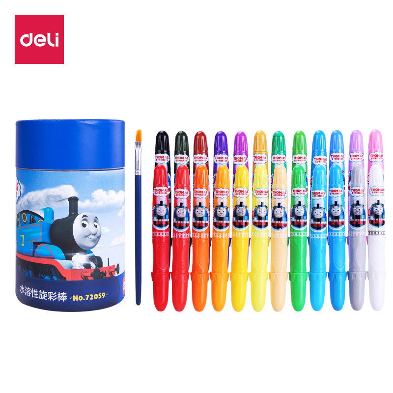 Deli ater Soluble Rotary Color Stick Oil Painting Stick Water Soluble Crayon Drawing Crayons Color Art Set For Kids Wax Crayons sakura sakura xep 50 50 color oil painting bags set art soft crayons