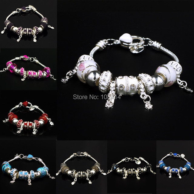 DIY Jewelry Making Women Silver Plated Snake Chain Charm Bracelet & Bangle with European PAN Style Crystal Murano Glass Bead