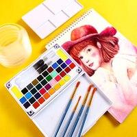 Bgln36 цветной однотонный набор акварельных красок для начинающих ручная роспись гуашь портативная жестяная коробка студенческие товары для ...