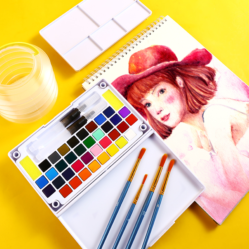 Bgln36 Color Solid Watercolor Paint Set Beginner Hand-painted Gouache Portable Tin Box Student Adult Art Supplies