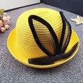 Новые летние дети соломенная шляпка марлевые кроличьи уши шляпа от солнца шляпу ребенка солнцезащитный крем дети милый прекрасный открытый cap оптовая