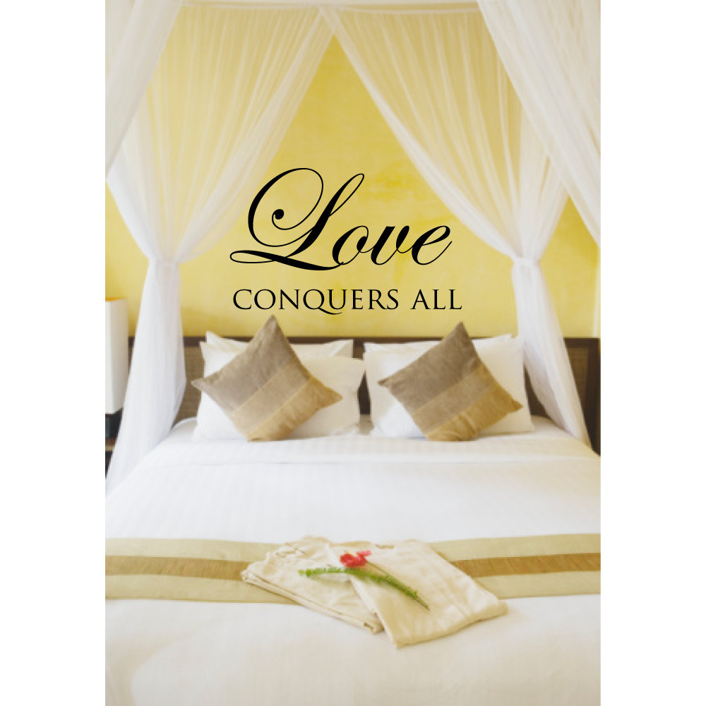 Scripture Wall Decal Quotes Love Conquers All Bedroom Wall Stickers ...