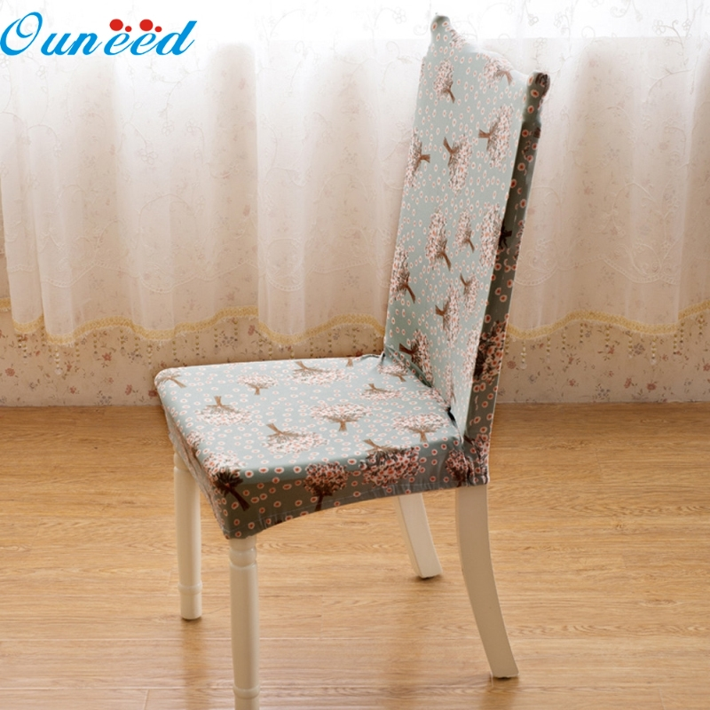 Ouneed Happy Home Floral Printed Polyester Universal Stretch Spandex Dining Room Chair Cover 1 Piece