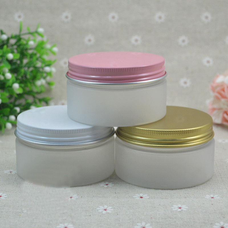 free shipping 100ml 7.1*4cm frosted FET jar with white / pink / yellow aluminum cover
