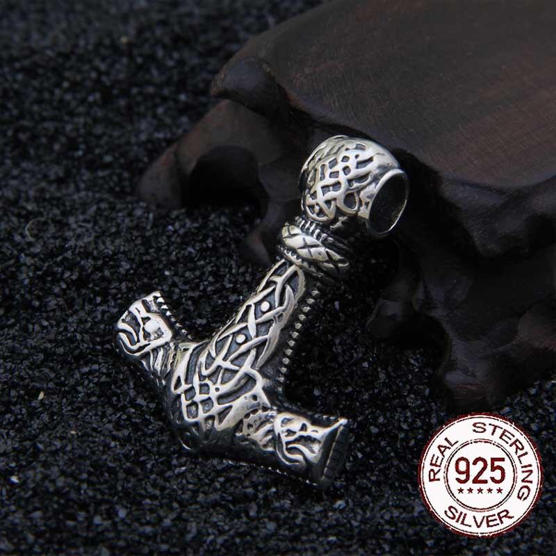 Réel 925 Sterling Argent Viking loup thor marteau pendentif collier avec vraiment en cuir et boîte de fer comme cadeau