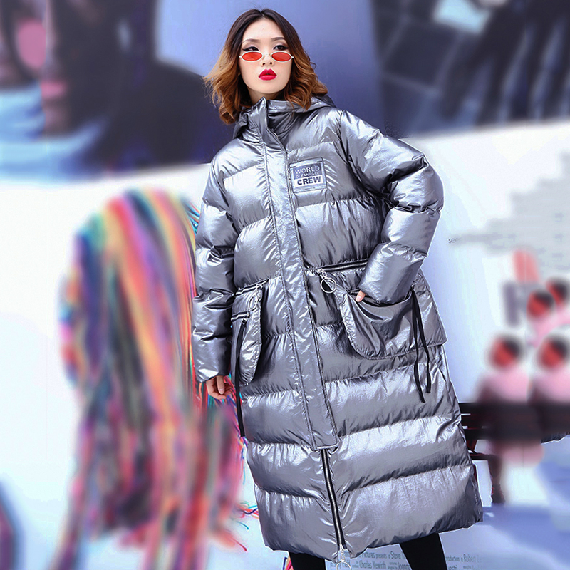Glossy Silver Winter Jacket Women Large Size Hooded Long Cotton Padded Coat 2019 New Arrival Oversized Warm Puffer Jacket Parkas