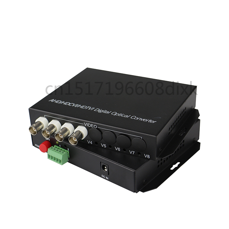 HD Video AHD CVI TVI Fiber Optical Converter, 4-CH 720P 960P Video Fiber Optic Transmitter With Reverse RS485 Data