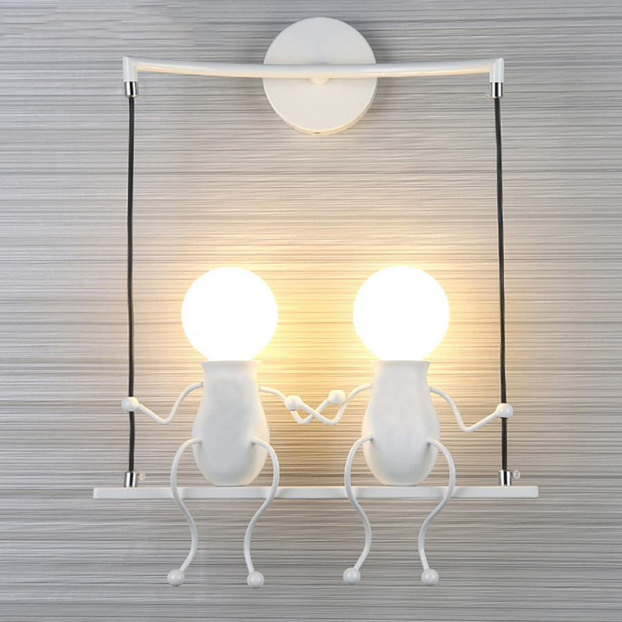 Us 18 37 30 Off Beiaidi Indoor Iron Doll Led Wall Lamp Cartoon Villain Swing Light Mounted Lighting Fixture For Baby Kids Bedroom Gift In