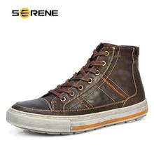 SERENE Men Oxford Shoes Nubuck Leather Lace-Up flat shoes vintage design Italian techonology Martin Boots casual botas plus size