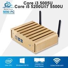 Мини-компьютер Intel Core i3 5005U офисные Windows 10 Core i5 5200U i7 5500U мини настольных ПК безвентиляторный HTPC TV Box Computador