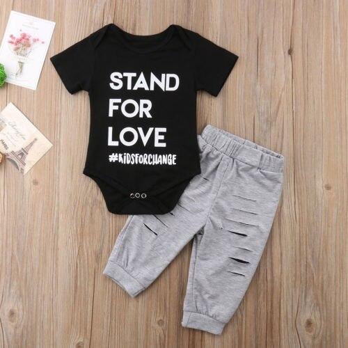 Newborn Baby Playsuit Jumpsuit+Long Solid Split Pants Outfit Clothes Baby Boys Cotton Short Sleeve Letter Print Clothing Set