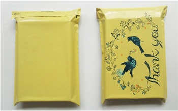 "Yellow Color ""Thank You"" Envelope Mailing Bag Express Bag Bird Poly Bags Clothing Packing Bag wen6815"