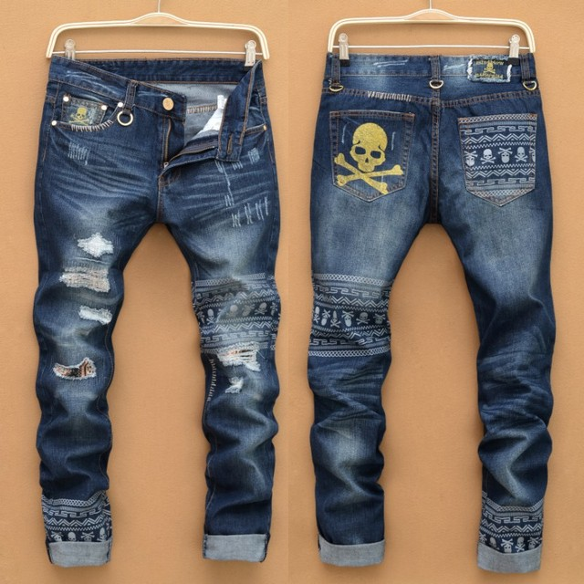ce3d0de057 Hot Mens jeans brand destroyed hole jeans straight robin jeans men s loose  denim true Homems jeans pantalones vaqueros hombre