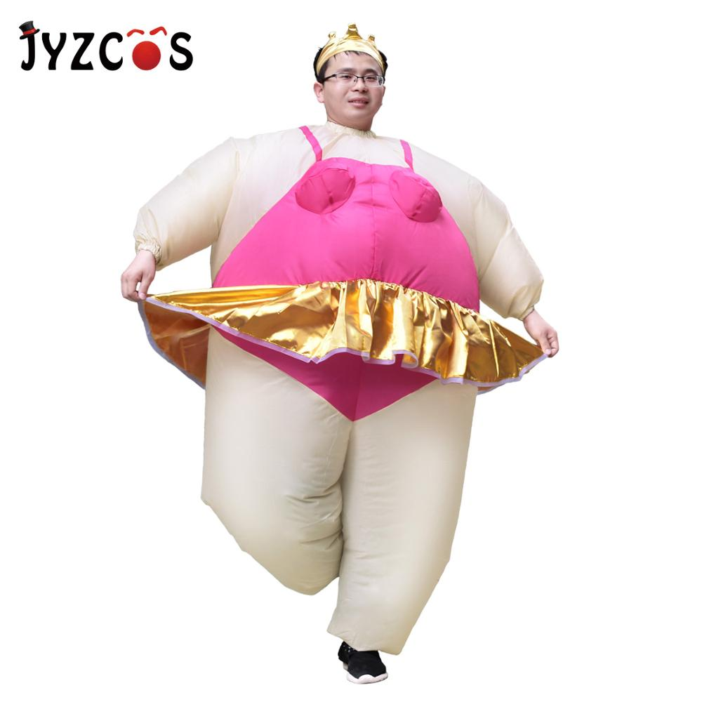 JYZCOS Inflatable Ballerina Dancer Costume Adult Polyester Halloween Costumes Purim Costumes Fancy Dress Fat Funny Suits Clothes