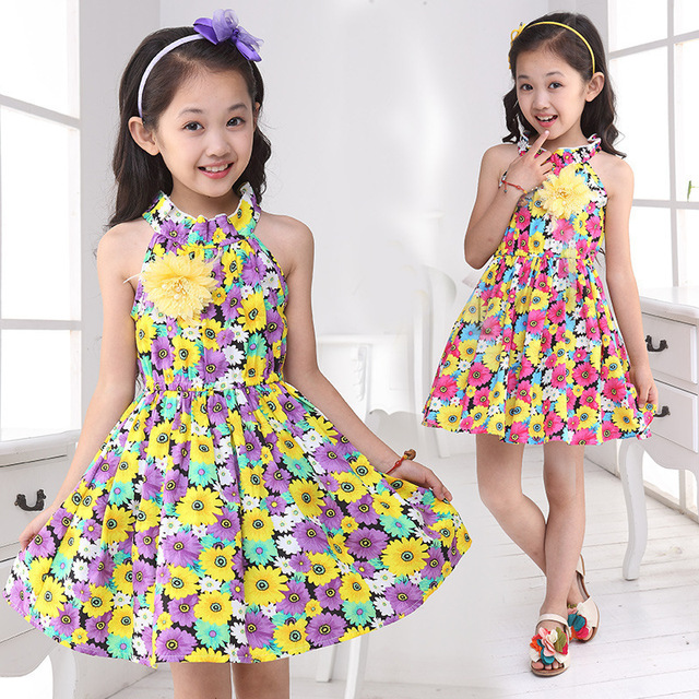 09309d68f 2015 children girls floral dress vintage with flowers for decoration  teenage pattern princess summer kids clothes