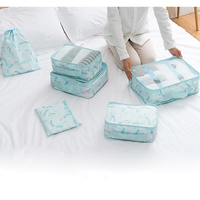 GLHGJP 6 PCS/Set Floral Printed Travel Packing Organizers Waterproof Polyester Folder Cosmetic Bag Clothes Storage Packing Bag