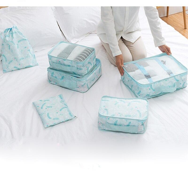 GLHGJP 6 pcs/ensemble Floral Imprimé Voyage Emballage Organisateurs Étanche Polyester Dossier Cosmétique Sac de Rangement Des Vêtements Sac D'emballage