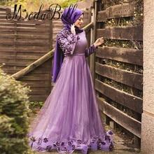 modabelle 2017 Purple Turkish Women Long Sleeve 3D Floral Kaftan Dubai Evening Dress Hijab Muslim Formal Dress Abiye Gece Elbise