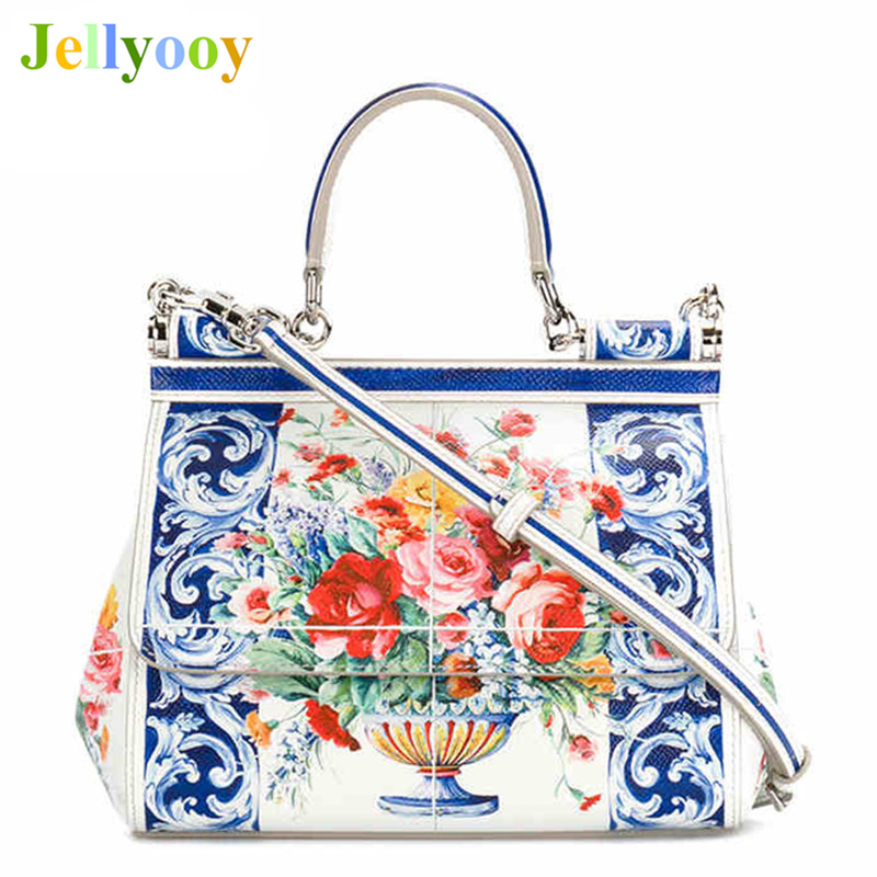 Luxury Italy Brand Sicily Ethnic Floral Bag Women Genuine Leather Casual Tote Platinum Bag Lady Shoulder Messenger Bag Bolsa Sac luxury italy brand sicily ethnic bag genuine leather women casual tote platinum bags star moon print lady shoulder messenger bag