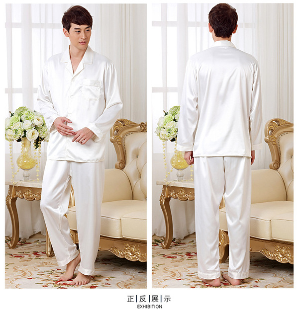 Mens Classic White Slik Pajamas Set long Sleeve and long pants homewear gowns indoor clothing plus Size