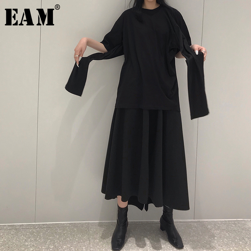EAM 2019 New Spring Summer Round Neck Half Sleeve Brief Personality Half body Skirt Two