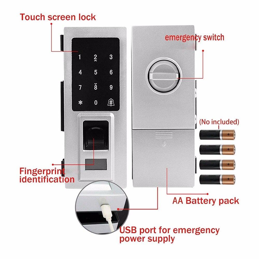 Стеклянная дверь интеллектуальный электронный дверной замок сенсорный экран отпечатков пальцев/Пароль Код/RFID карта бесключевая защелка У... - 4