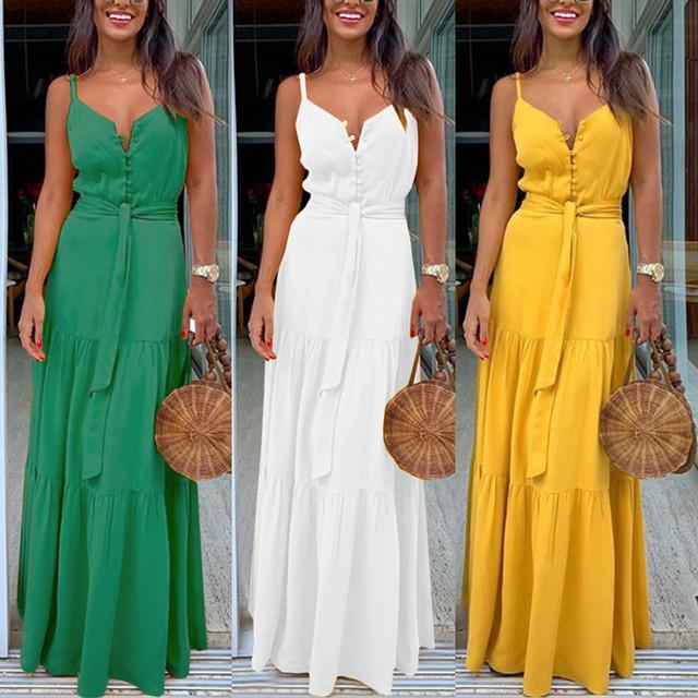 Fashion Women Summer Dress Boho Style Sleeveless Strappy Female Girls Dresses V-neck Bandage Party Beach Dress Feminine les robe
