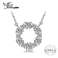 JewelryPalace 925 Sterling Silver Cubic Zirconia Circle Chain Pendant Collar Necklace 18 Inches Fine Jewelry For