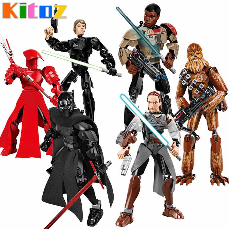 Звездные войны Buildable фигурку Kylo Ren Jango Boba Fett Chewbacca K-2SO Poe Rey Finn Строительный Блок Игрушка совместима с lego