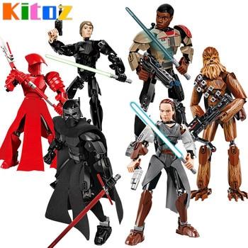 Star War Buildable 액션 피규어 Kylo Ren Jango Boba Fett Chewbacca K-2SO Poe Rey Finn 빌딩 블록 장난감 호환 가능