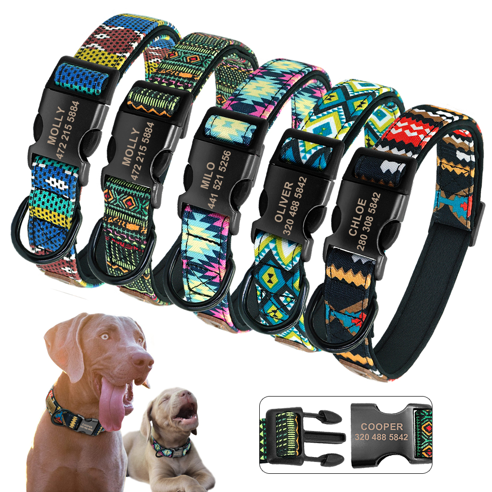 e5d37992f3d7 Personalized Dog Collar Nylon Custom Pet Dog Tag Collars Printed Plaid Puppy  Nameplate ID Collars For