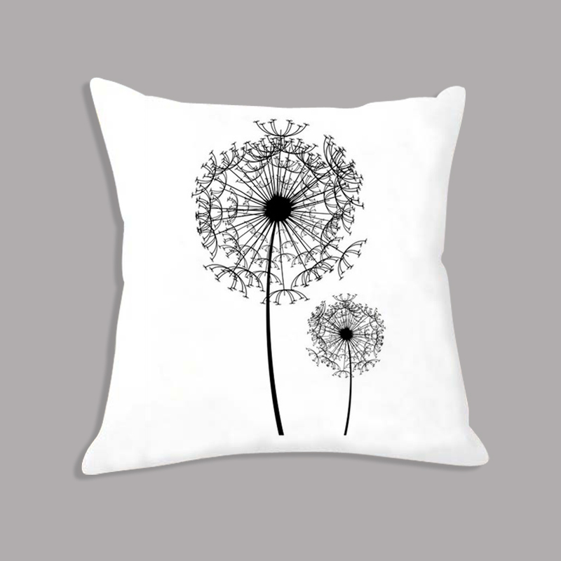 Dandelion Flower Minimalist Cushion Makeup Black White Decorative Cushion For Sofa Throw Pillows For Children Room Decoration