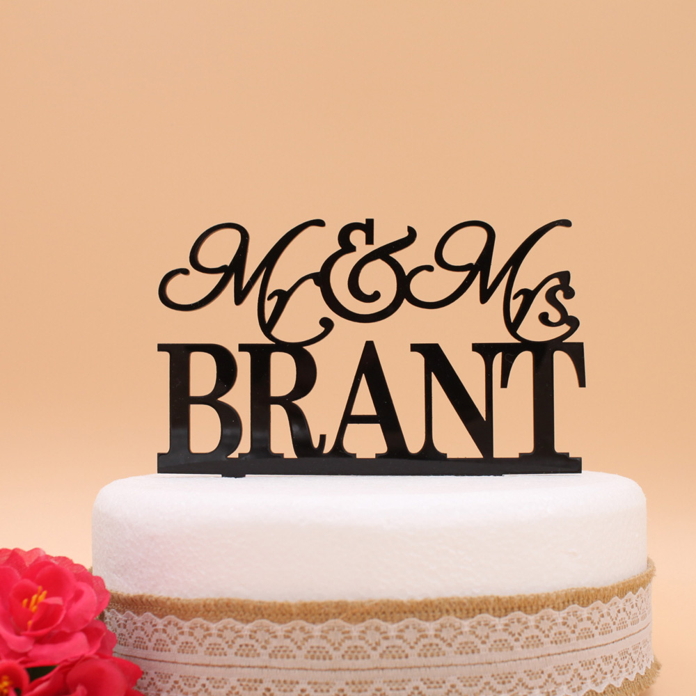 Free Shipping Personalized Acrylic Wedding Cake Topper/ Mr & Mrs ...