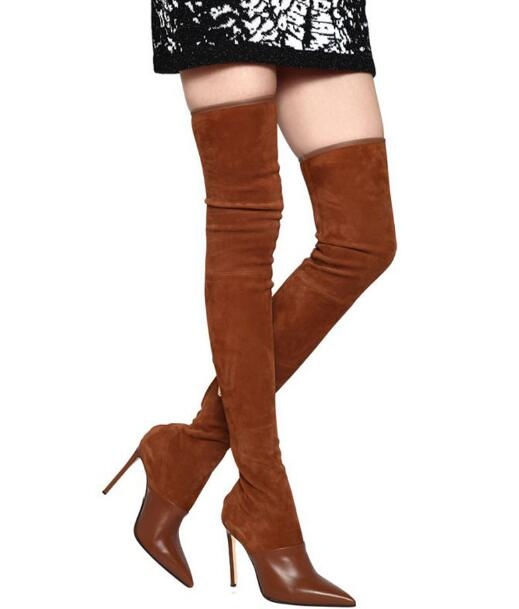 Winter woman black/brown pointed toe high heel thigh boots Fashion solid thin high heel over-the-knee boots Ladies long boots beautiful red patent leather thigh high boots pointed toe woman high heel boots winter over the knee thin heels boots black