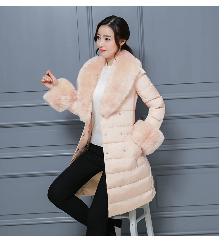 Bas La D'hiver 1777 gray Col Parcs Femelle Manteau Plus Nouveau Vers Femmes Coton Vêtements black Le Noir Pink De Haute Fourrure Qualité Hiver Épaississent Taille qpX1xwEa