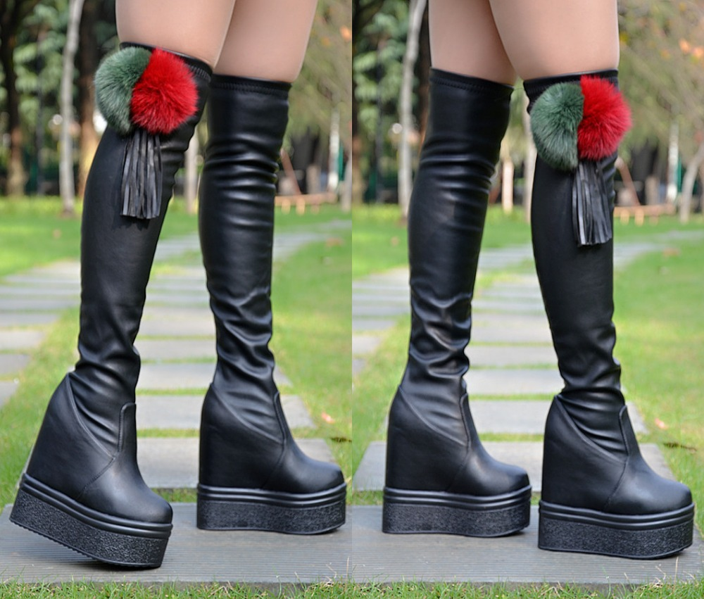 Autumn and winter with the new thick elastic boots Within the high knee high boots Was thin legs high boots 14cm 2016 autumn and winter new elastic high