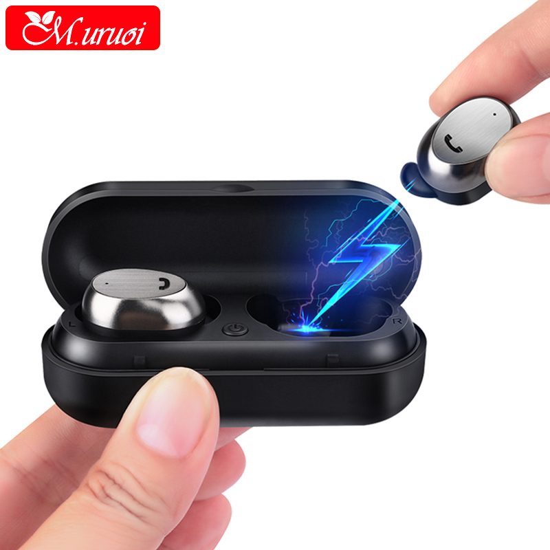 M.uruoi Earbuds with Microphone Wireless Bluetooth 4.2 Headset Inear Earphones TWS Earbuds Noise Reduction Earpieces for Phone