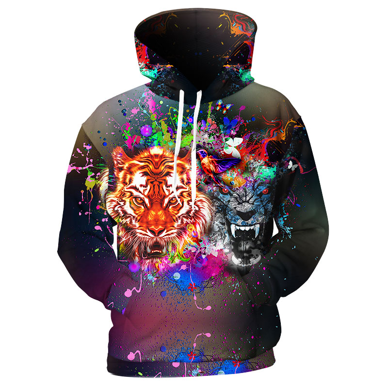 Cloudstyle Tiger Printed Mens Hoodie 3D Leopard Sweatshirts Men/Women Thin Pullover Black Streetwear Fashion Animal Hoody Hombre