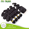 8A Grade Virgin Unprocessed Human Hair With Closure Miss Lula Indian Hair Body Wave 4Bundles With 4x4 Swiss Lace Closure