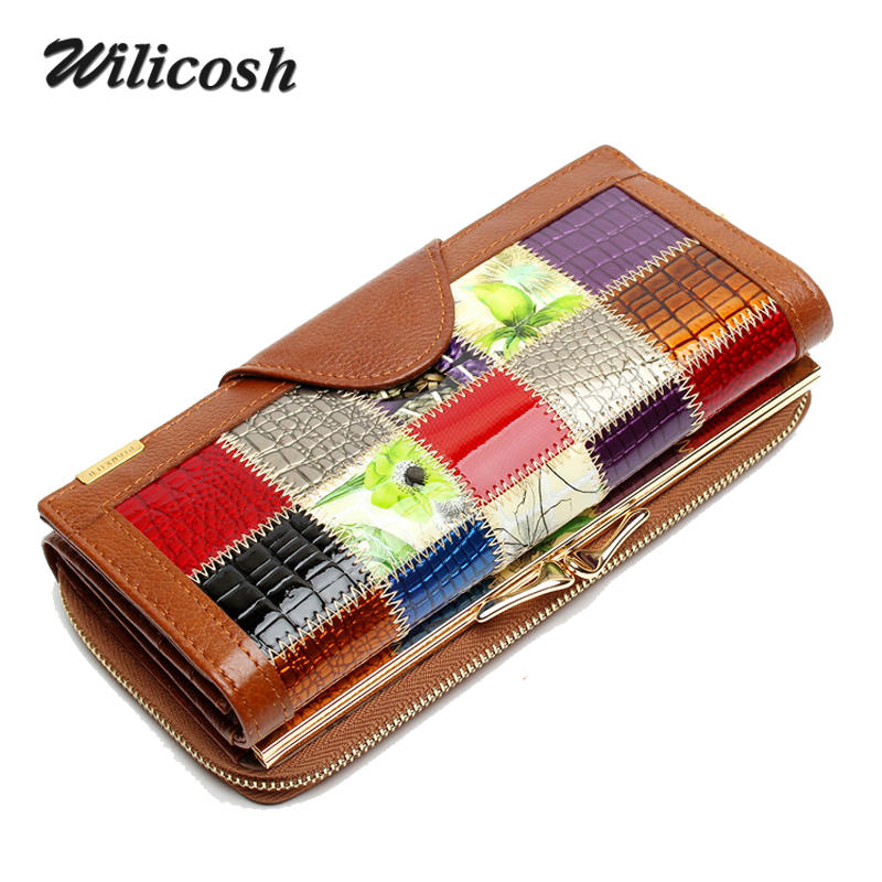 Wilicosh 3 Fold Fashion Genuine Leather Womens
