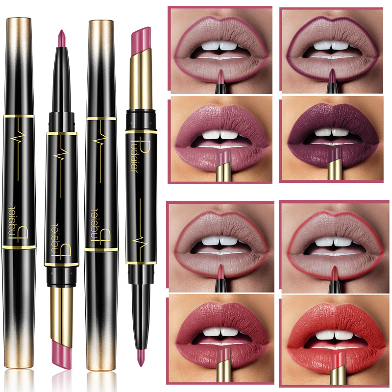 Pudaier Double Ended Matte Lipstick Wateproof Long Lasting Lipsticks Brand Lip Makeup Cosmetics Nude Dark Red Lips Liner Pencil image