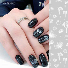 1 sheet NailMAD Lotus Nail Sticker White Transparent Flower 3D Art Stickers Decals