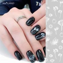 1 vel NailMAD Lotus Nail Sticker Wit Transparant Bloem 3D Nail Art Stickers Nail Stickers Nail Decals