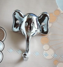 Elephant Chrome Silver Wall Hook Curtain Tie Backs / Animal Coat Hooks Decorative Clothes Hangers Hat  Kitchen