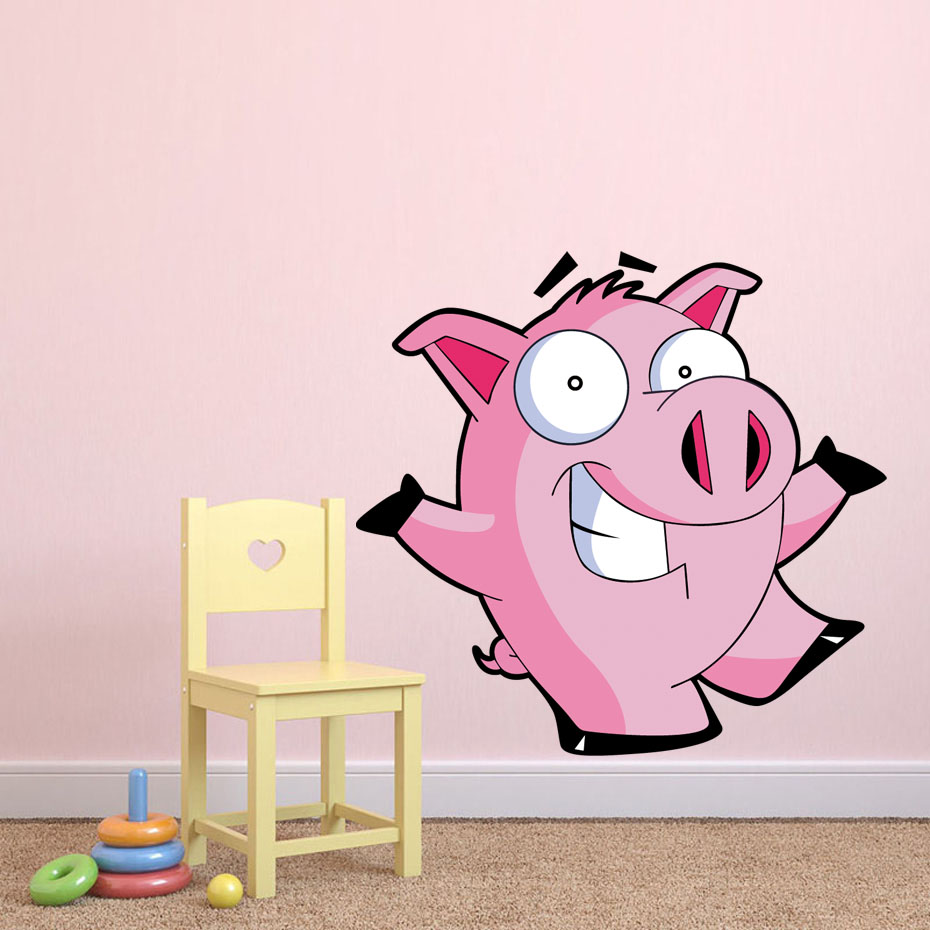 Cartoon pink pig farm color wall stickers for kids room - Childrens bedroom wall stickers removable ...