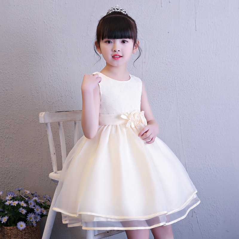 Baby Girl Princess Dress Flower Decoration Children Dresses Sleeveless For Wedding Party Girls Dress Clothing hot sale flower girls lace dresses for party and wedding lovely princess kids dress fashion children s clothing free shipping